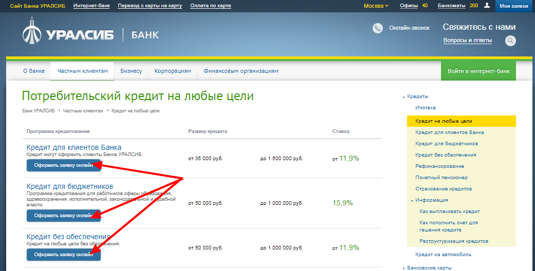 Банк уралсиб кредиты онлайн оплата кредита с карты ренессанс банк