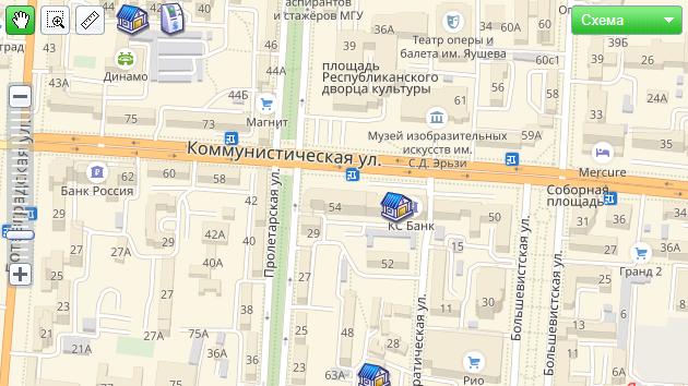 Карта офисов на официальном сайте КС банка